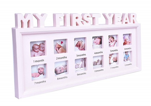 Pink First-Year Baby Photo Frame for Girls